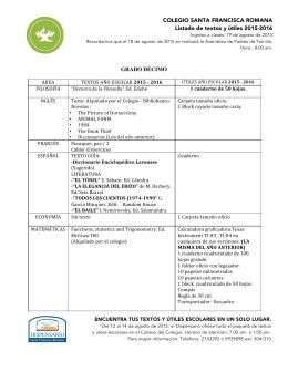 Lista de textos y útiles escolares de DÉCIMO