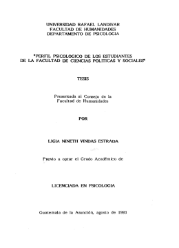 FACULTAD DE HUMANIDADES DEPARTAMENTO DE PSICOLOGIA