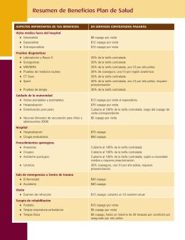 Resumen de Beneficios Plan de Salud