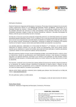 Estimado/a Alcalde/sa: Desde la Federación Aragonesa