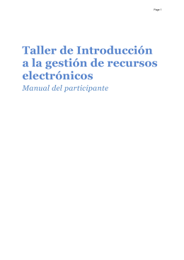 IntroEResources - Manual del Participante