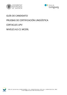 guía de candidato pruebas de certificación lingüística certacles upv
