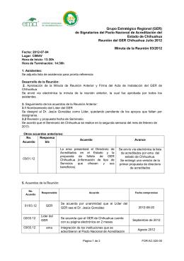 Minuta GER Chihuahua 120704 - Grupo Estratégico Regional de