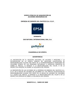 oferta pública de adquisición de acciones ordinarias de empresa de
