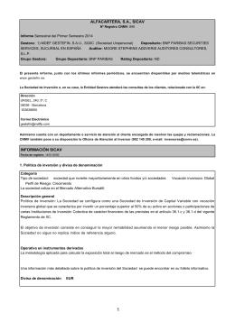 ALFACARTERA, S.A., SICAV INFORMACIÓN SICAV