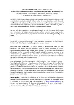 """Master Universitario Oficial en """"Desarrollo de alimentos de alta"""