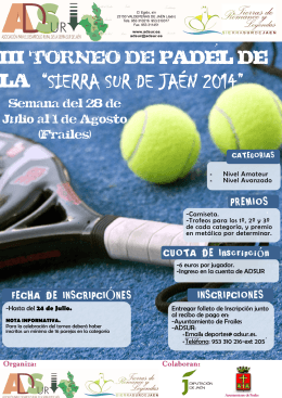 Cartel informativo III Torneo de Pádel de la Sierra Sur de Jaén