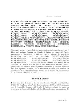 10. RESOLUCIÓN PA-010-06 Y ACUMULADOS PRI
