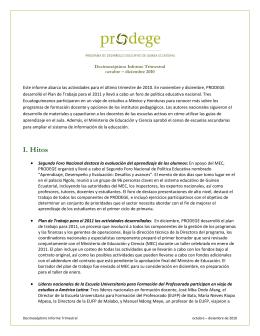 I. Hitos - PRODEGE–Guinea Ecuatorial
