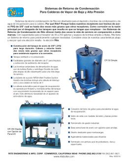 Sistemas de Retorno de Condensación Para Calderas de Vapor de