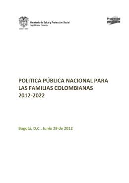 politica pública nacional para las familias colombianas 2012-2022
