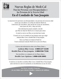Nuevas Reglas de Medi-Cal En el Condado de San Joaquín