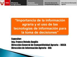 """""""Importancia de la información agraria y el uso de las"""