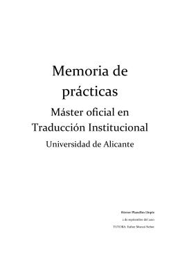 Memoria de prácticas - Departamento de Traducción e Interpretación