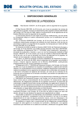 Real Decreto 1205/2011 sobre seguridad de los juguetes