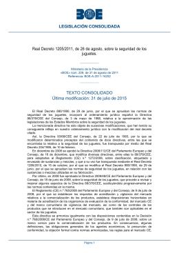 Real Decreto 1205/2011, de 26 de agosto, sobre la