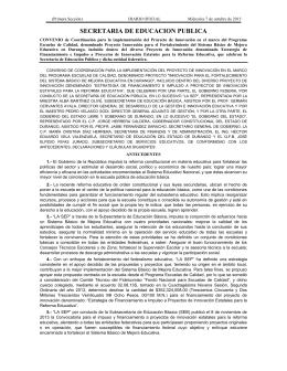 Convenio de Coordinación Durango