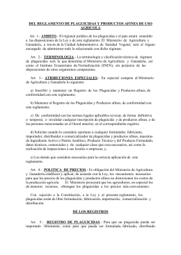 DEL REGLAMENTO DE PLAGUICIDAS Y PRODUCTOS