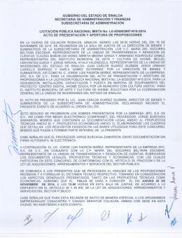 GOBIERNO DEL ESTADO DE SINALOA SECRETARIA DE
