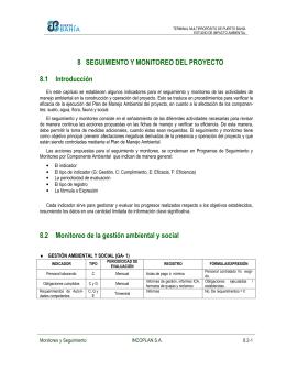 8 SEGUIMIENTO Y MONITOREO DEL PROYECTO 8.1 Introducción