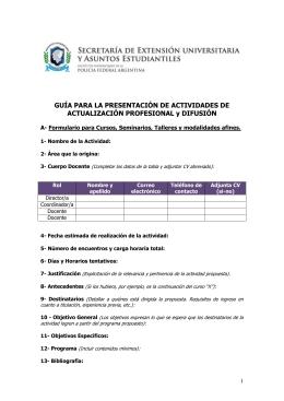 Guía presentación de Actividades de Actualización Profesional y