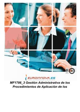 MF1786_3 Gestión Administrativa de los Procedimientos de