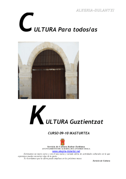 ALEGRIA-DULANTZI ULTURA Para todos/as ULTURA Guztientzat