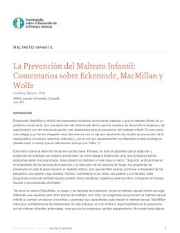 La Prevención del Maltrato Infantil: Comentarios sobre Eckenrode