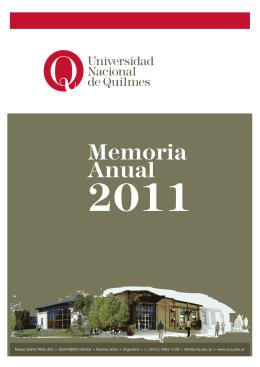 Tapa Memoria 2010 - Universidad Nacional de Quilmes