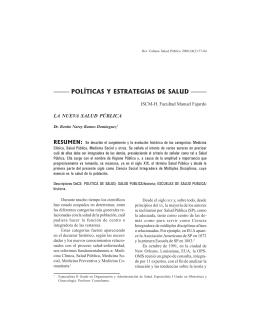 POLÍTICAS Y ESTRATEGIAS DE SALUD