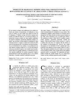 Modelos de respuesta modificados para fertilizantes en rotaciones