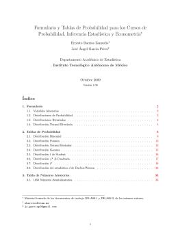 Formulario y Tablas de Probabilidad para los Cursos de