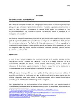 ALEMANIA EL PLAN NACIONAL DE INTEGRACIÓN En el marco de