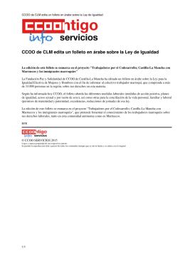 CCOO de CLM edita un folleto en árabe sobre la Ley de Igualdad