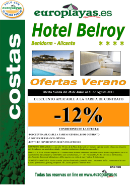 BND 988 HOTEL BELROY - 12%DTO