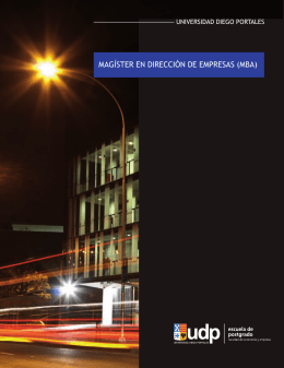 mba - Postgrados • Facultad de Economía y Empresa UDP