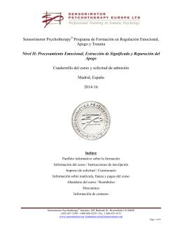 Sensorimotor Psychotherapy Programa de Formación en
