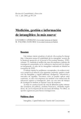 Medición, gestión e información de intangibles: lo más nuevo1