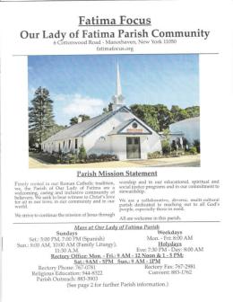 On SUNDAY, NOVEMBER 2nd - Our Lady of Fatima Parish