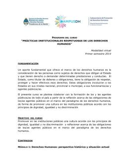 """""""PRÁCTICAS INSTITUCIONALES RESPETUOSAS DE LOS"""