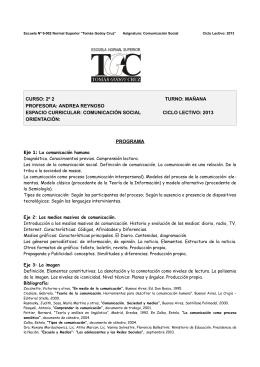 comunicación social ciclo lectivo: 2013 orien - Escuela 9-002