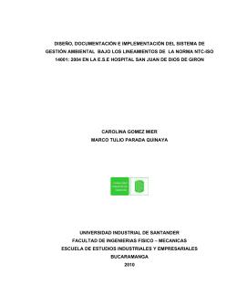 diseño, documentación e implementación del sistema de gestión