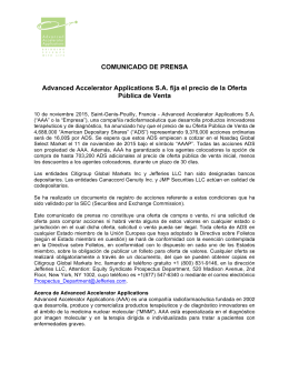 COMUNICADO DE PRENSA Advanced Accelerator Applications SA