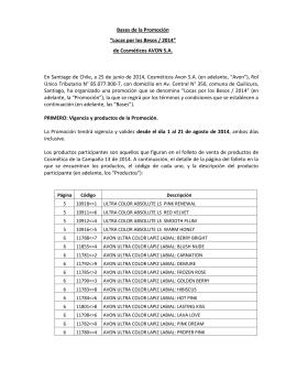 """Bases de la Promoción """"Locas por los Besos / 2014"""" de Cosméticos"""