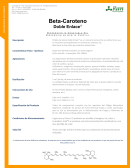 Beta-Caroteno Doble Enlace - RAN Industrias Quimicas SA