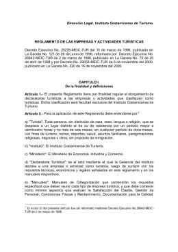 Reglamento de las Empresas y Actividades Turisticas