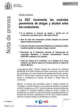 La DGT incrementa los controles preventivos de drogas y alcohol