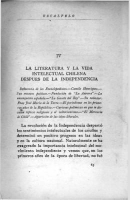 la literatura y la vida intelectual chilena despues de la independencia