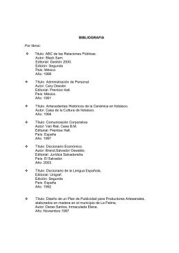 BIBLIOGRAFIA Por libros: Titulo: ABC de las Relaciones Públicas