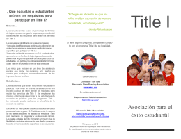 ¿Qué es Title I? - Wisconsin State Reading Association